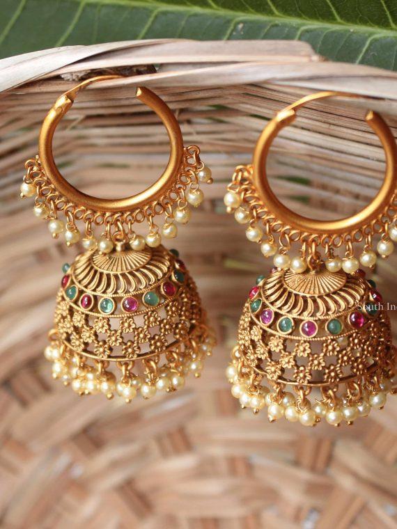Elegant Multi Stone Pearl Hanging Jhumka