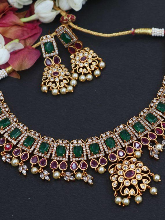 Elegant Multi Stone Short Necklace