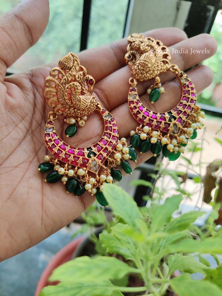 Elegant Peacock Design Green Beads Earrings