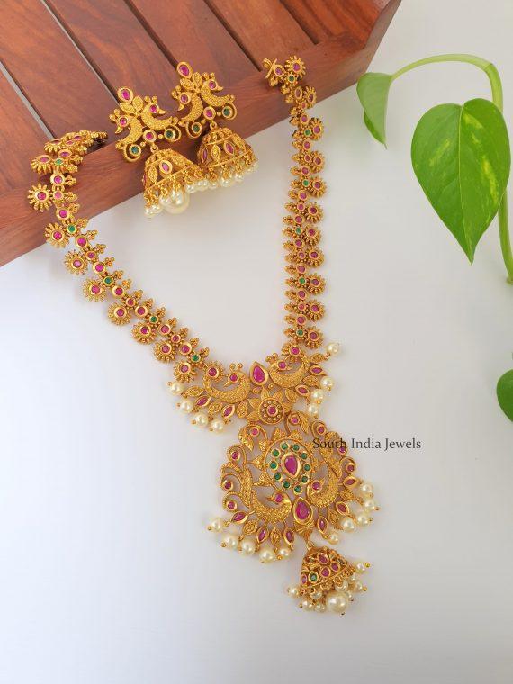 Elegant Peacock Design Matte Finish Necklace-01
