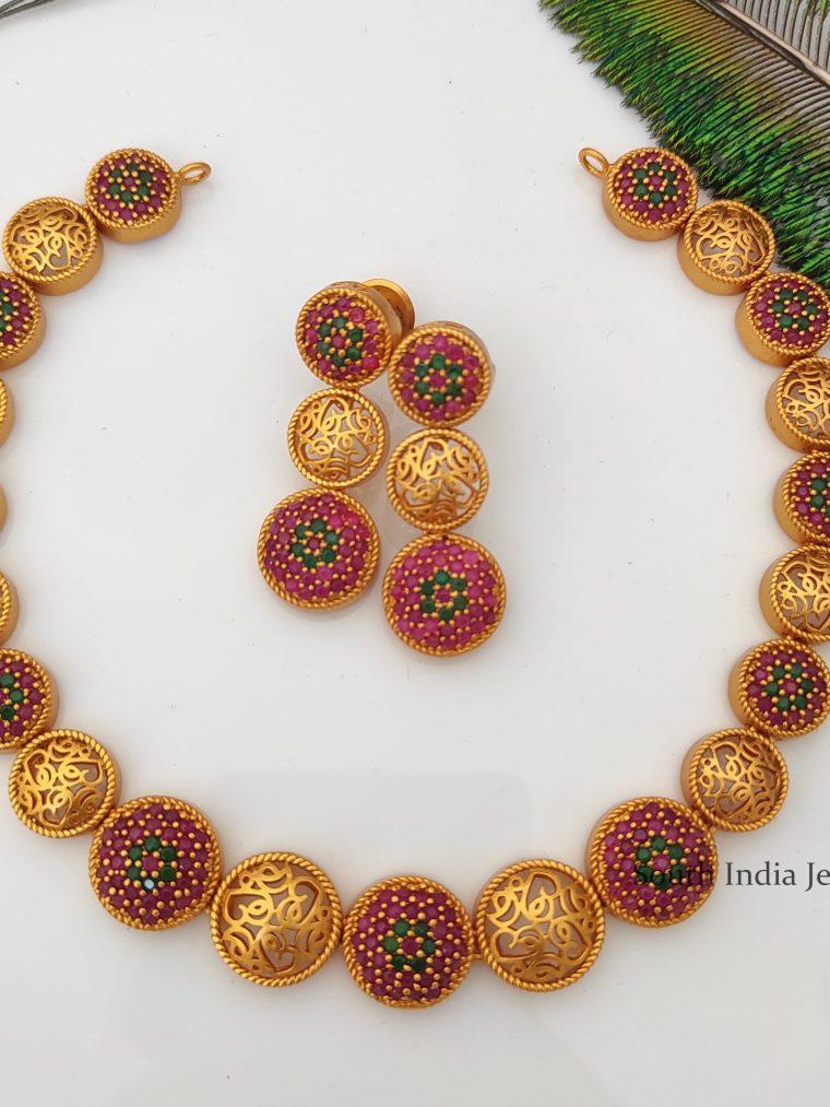 Elegant Ruby Emerald Designer Necklace-01