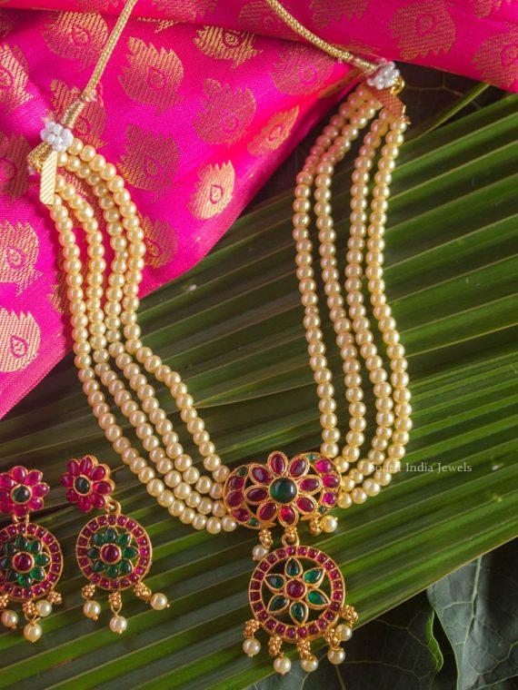 Elegant Ruby & Green Stone Emerald Pearl Set