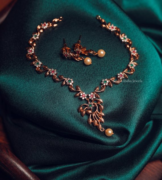 Elegant Stone Necklace with Earrings