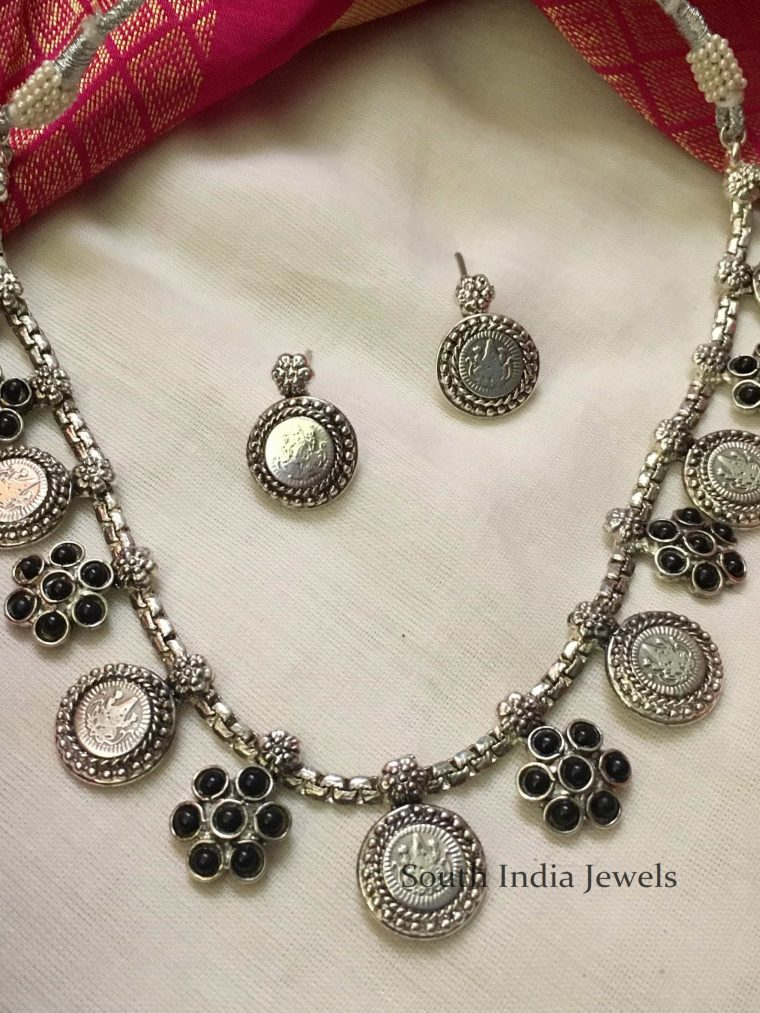 German Silver Black Stone Necklace