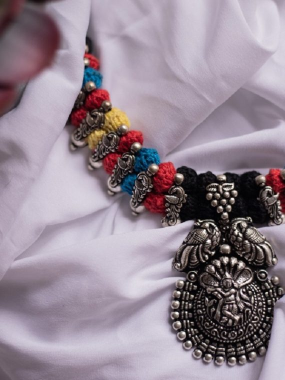 German Silver Krishna Design Choker