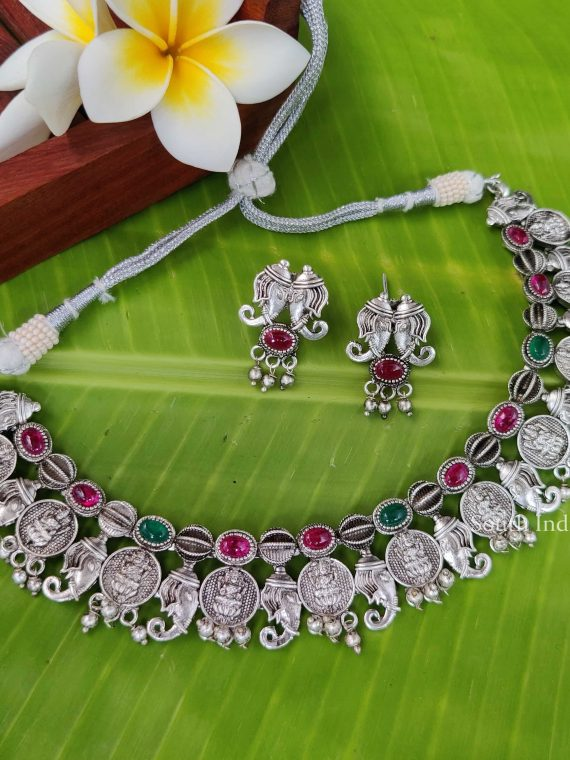 German Silver Lakshmi Kasu Design Necklace