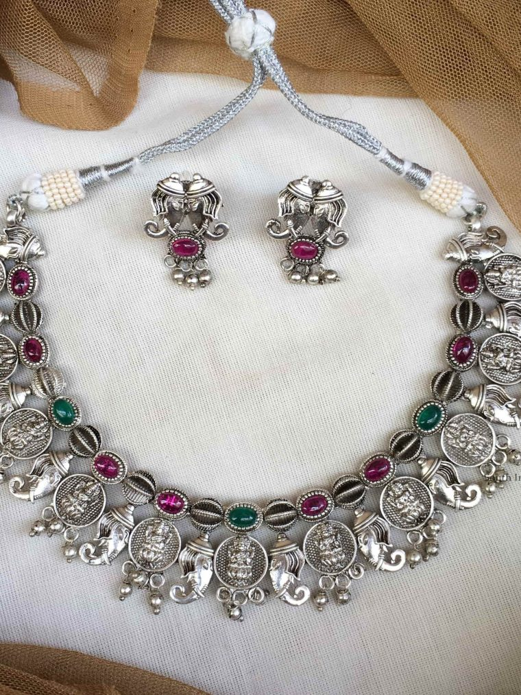 German Silver Lakshmi Necklace with Studs