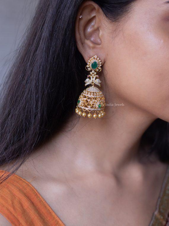 Gorgeous Emerald AD Stone Jhumka-01