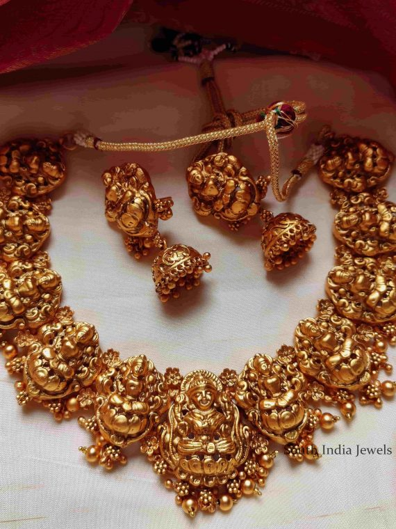 Gorgeous Matte Finish Lakshmi Necklace