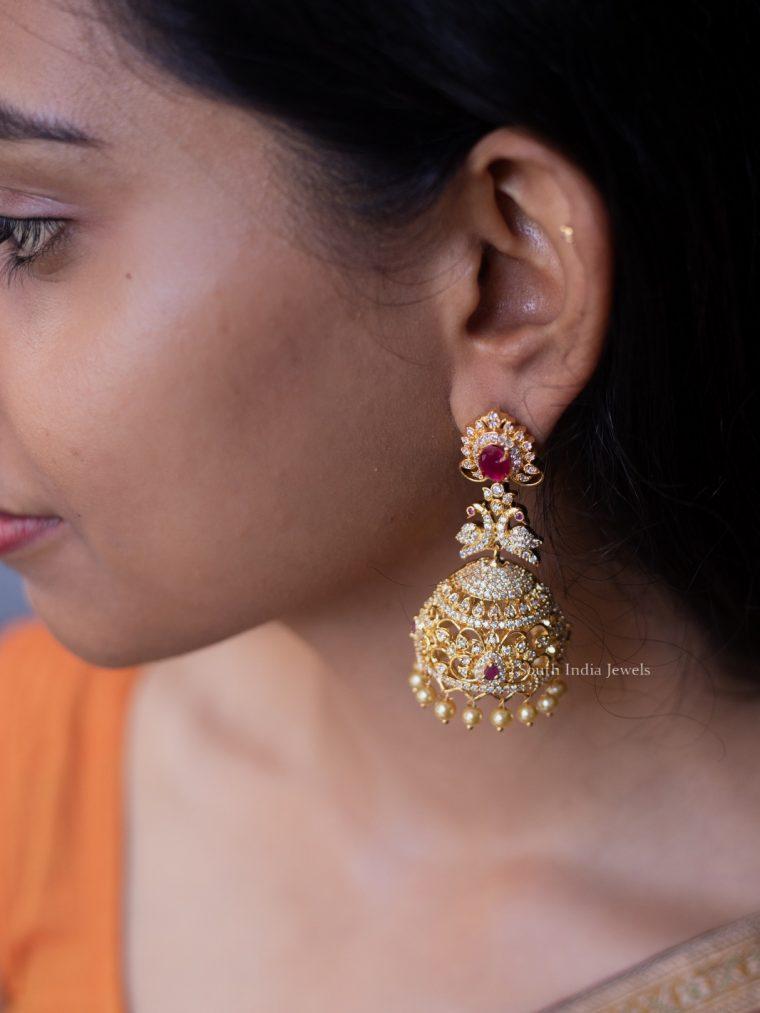 Gorgeous Ruby AD Stone Jhumka-01