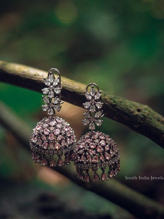 Gorgeous Zircon Floral Jhumkas-06