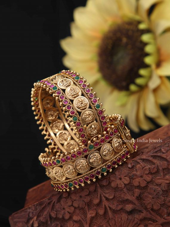 Grand Bridal Kemp Lakshmi Coin Openable Kada Bangle-01