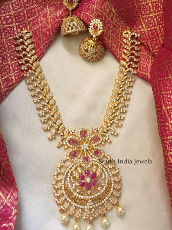 Grand CZ Stone Necklace with Jhumka-01