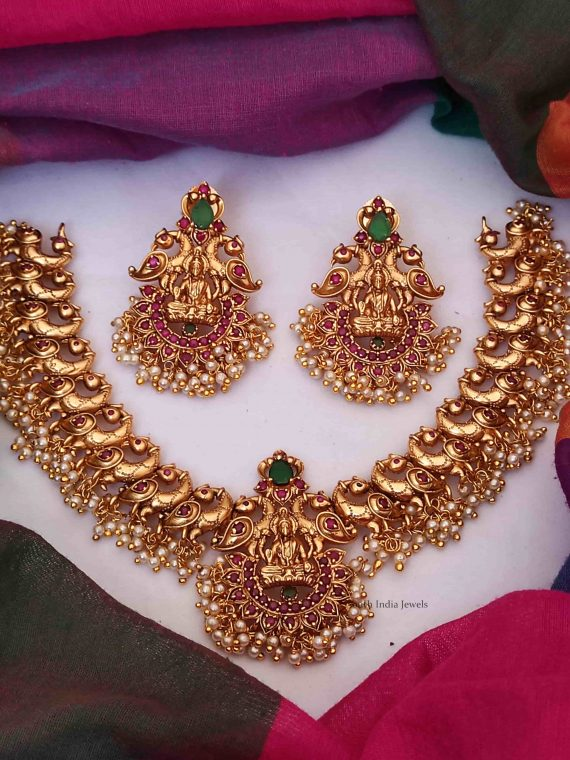 Grand Lakshmi and Peacock Design Necklace
