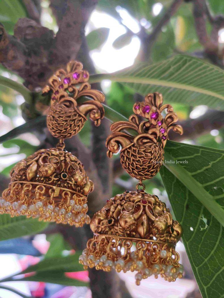 Grand Matte Finish Peacock Design Jhumkas