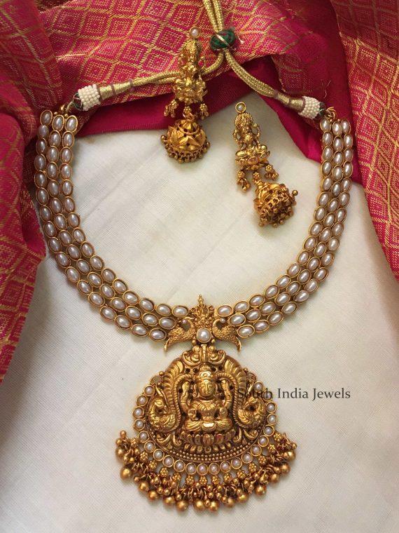 Grand Matte White Pearl Lakshmi Pendant Necklace-01