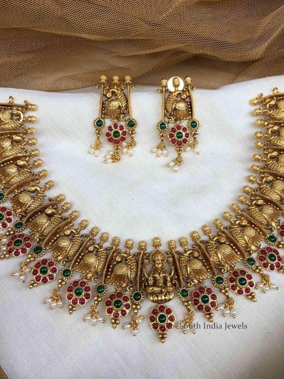 Grand Peacock & Lakshmi Designer Necklace