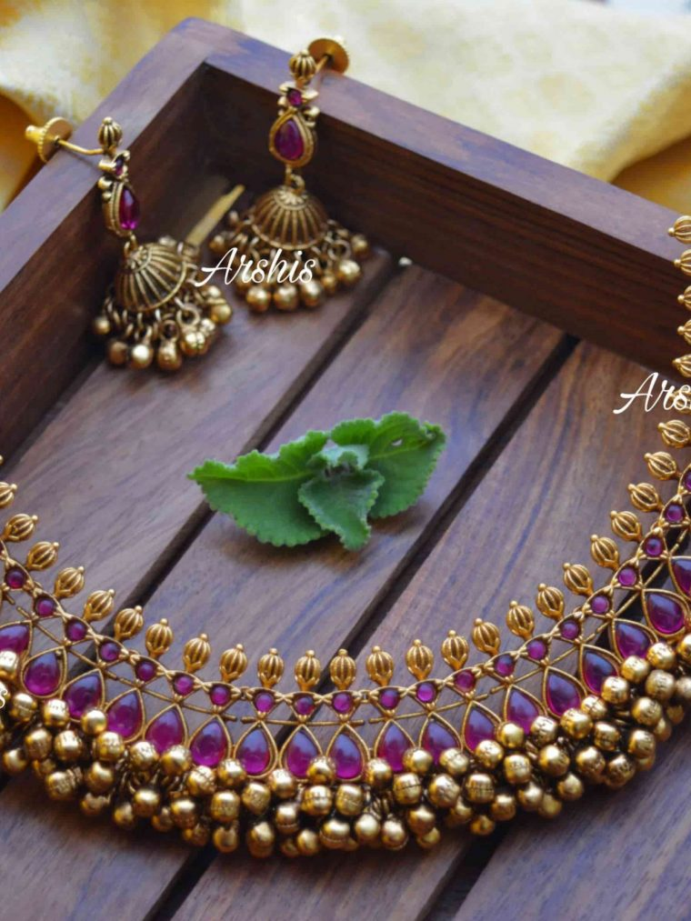 Heavy Pure Kemp Ghunguroo Necklace-01