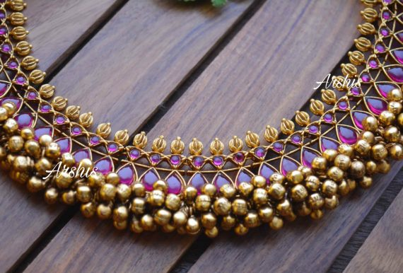 Heavy Pure Kemp Ghunguroo Necklace-02