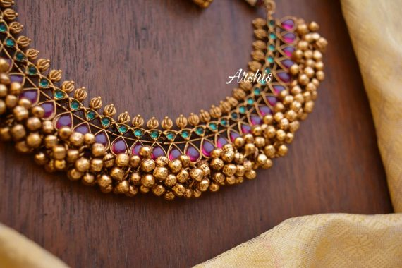 Heavy Red & Green Kemp Ghunguroo Necklace-02
