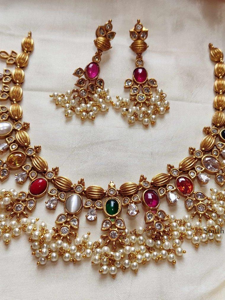 High Quality Navarathna Guttapusalu Necklace