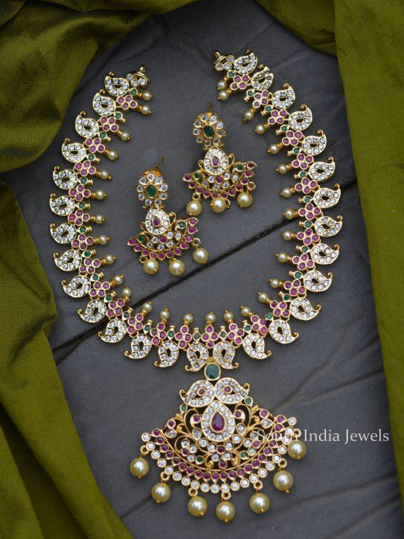 Imitation AD Stone Mango Design Necklace