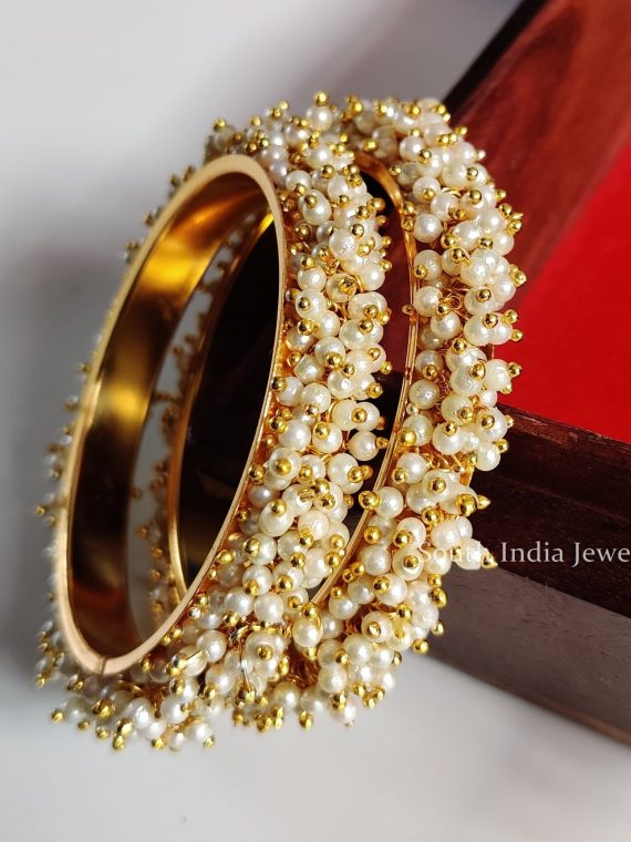 Imitation Antique Cluster Pearl Bangles