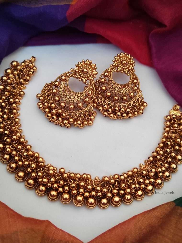 Imitation Antique Necklace with Chandbali Earrings