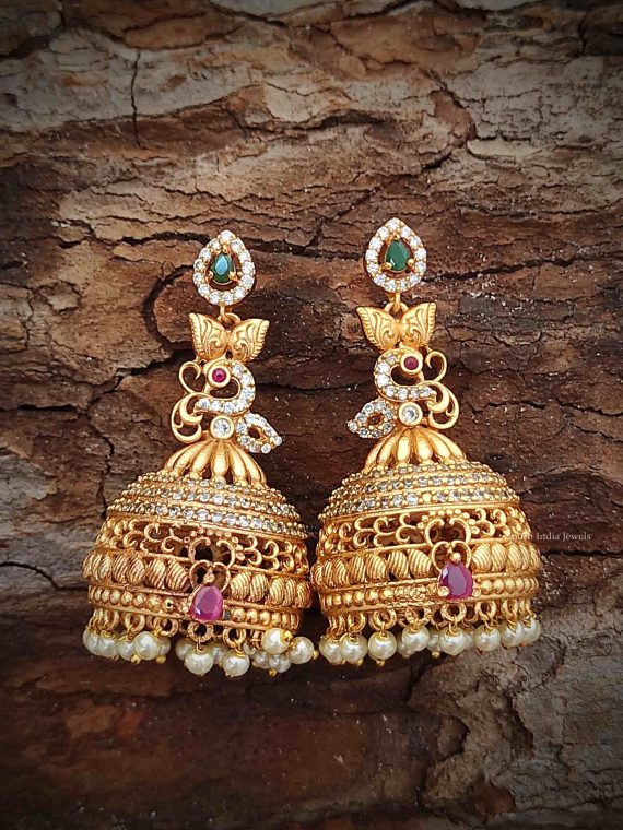 Imitation Long AD Peacock Jhumka-01