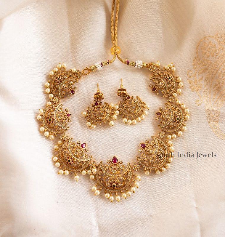 Imitation Matte Half Moon Design Necklace