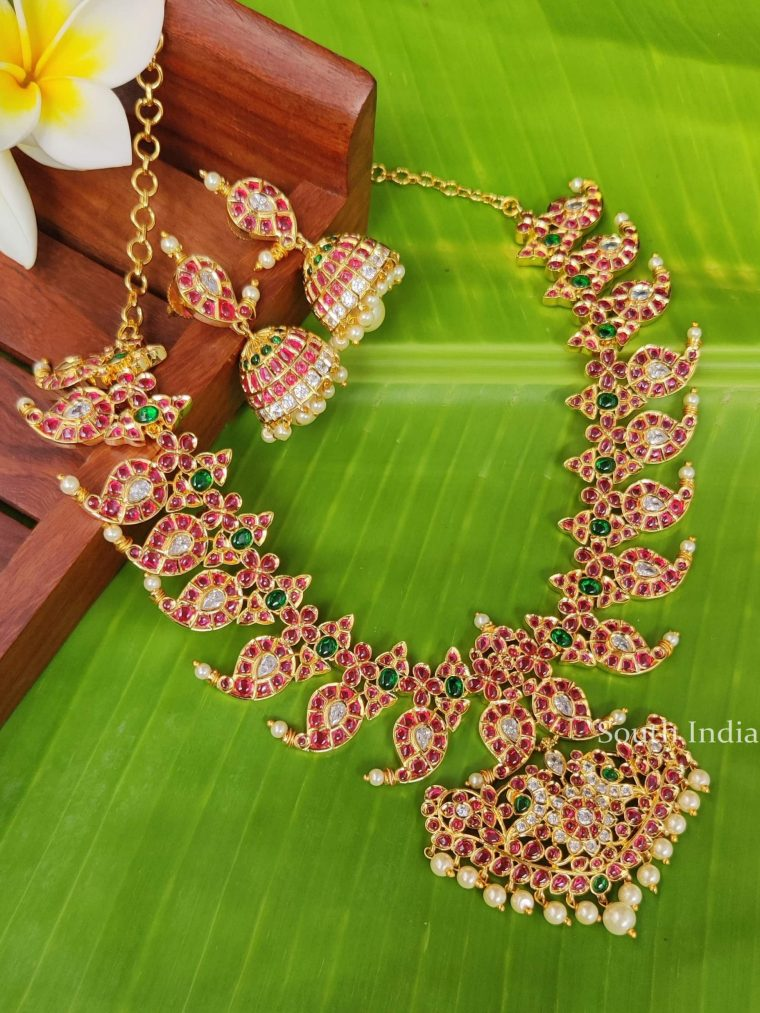 Imitation Multi Stone Necklace with Jhumka