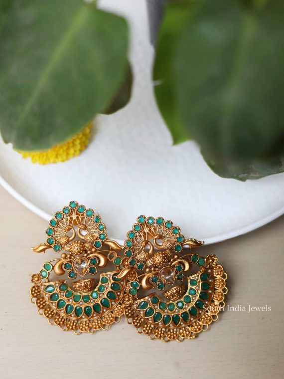 Imitation Peacock Design Green Stone Earrings
