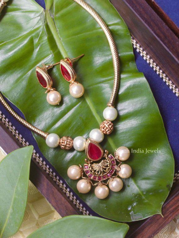 Imitation Pipeset Ruby Stone Necklace