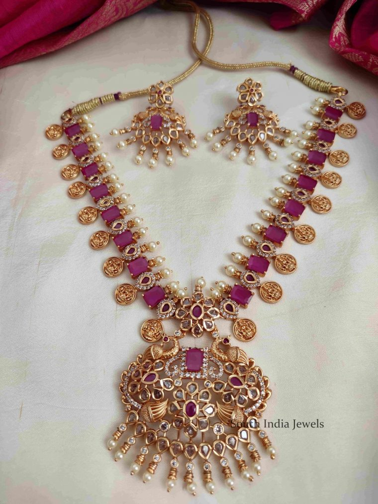 Imitation Ruby Stone Lakshmi Coin Necklace