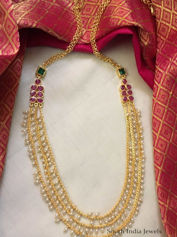 Imitation Three Layer Pearl Chain Necklace