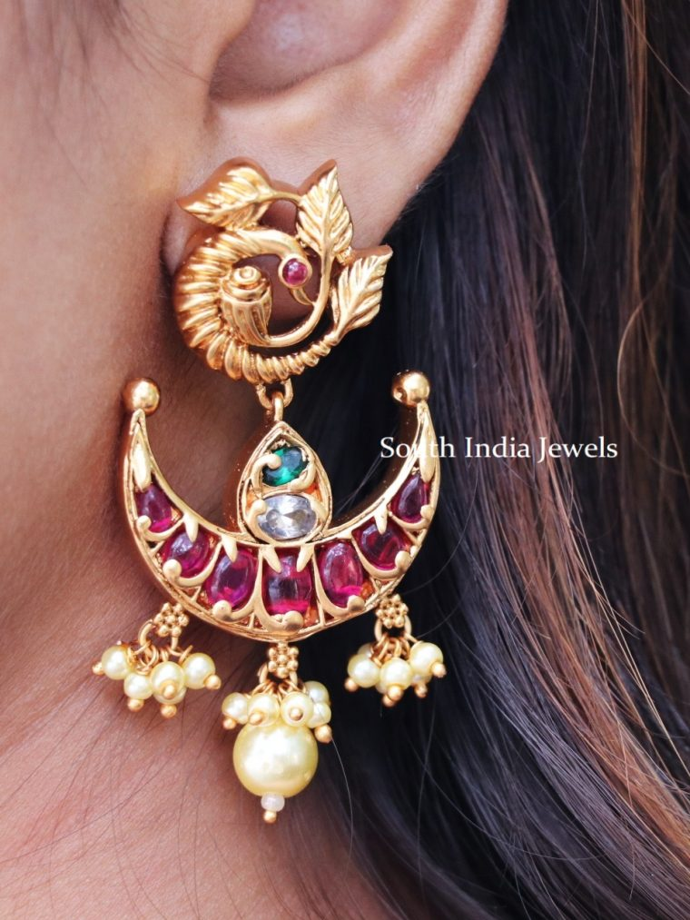 Kemp Stone Peacock Chandbali Earrings