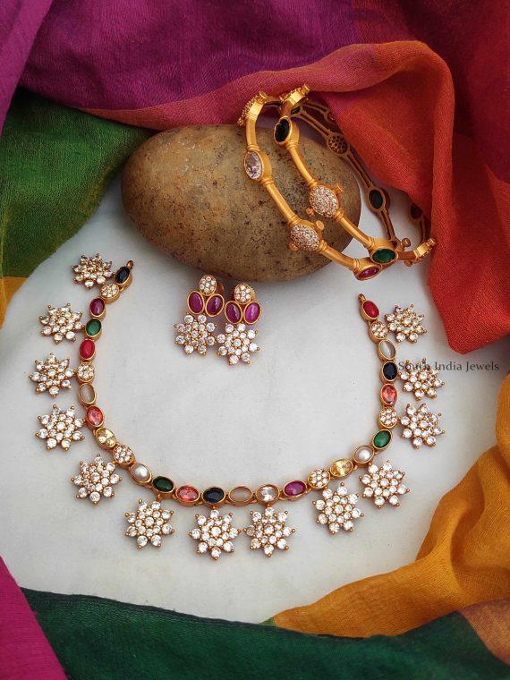 Navarathna Stone Necklace & Bangles Combo