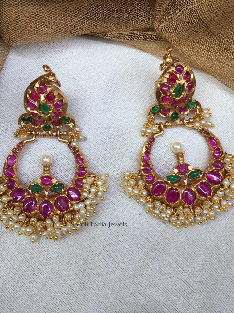 Peacock Design Kemp Stone Chandbali Earrings