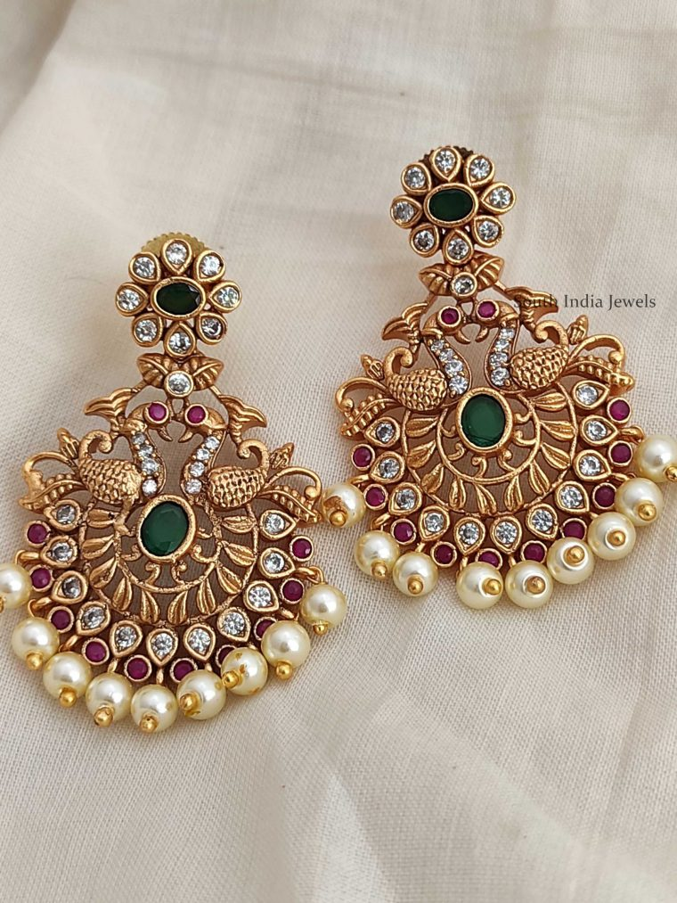 Premium Quality Light Weight Peacock Chandbali Earrings-01