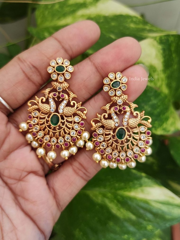 Premium Quality Light Weight Peacock Chandbali Earrings-02