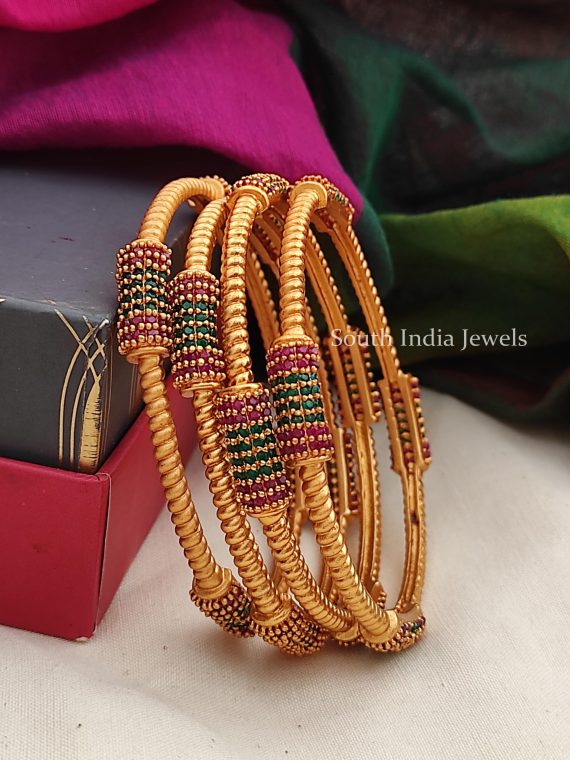 Premium Quality Pure Ruby & Green Four Set of Bangles-01