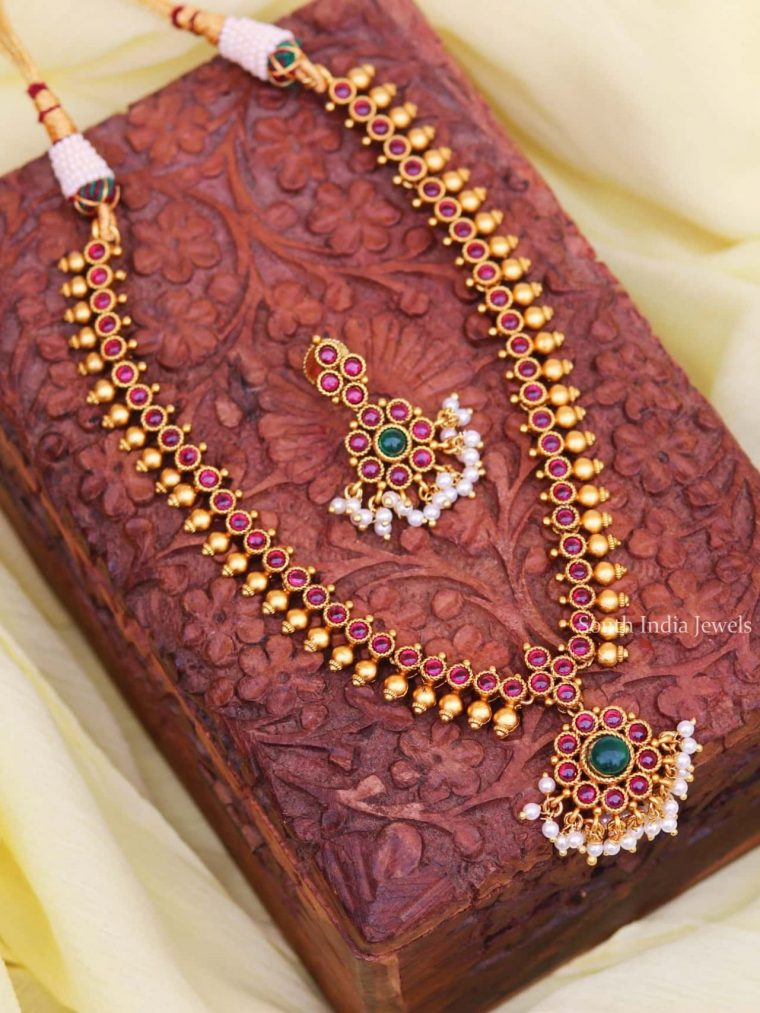 Premium Quality Ruby Attigai with Earrings