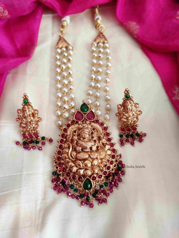 Pretty Lakshmi Pendant Three Layer Pearl Necklace