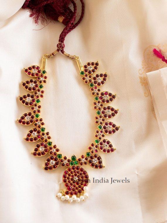 Pure Kemp Mango Design Addigai Necklace