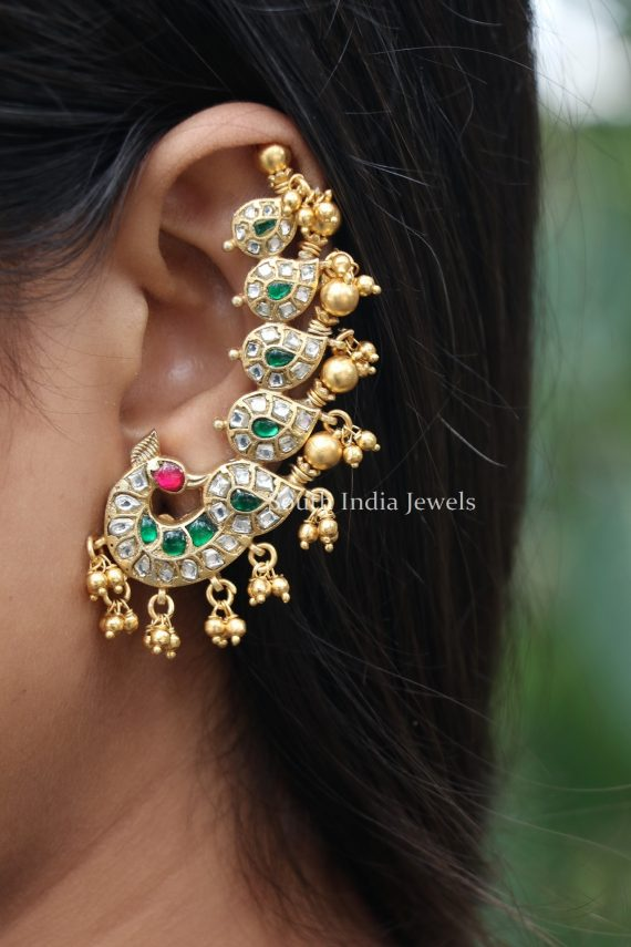 Pure Silver Gold Plated Peacock Earrings