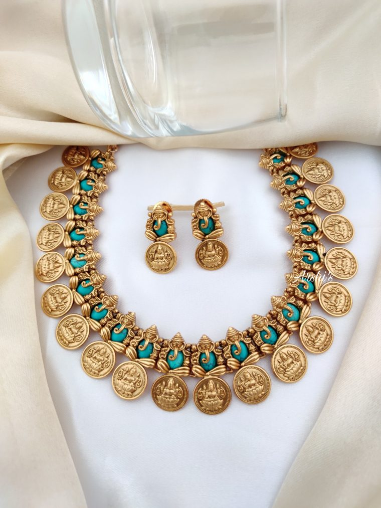 Semi Precious Stone Ganesh Lakshmi Coin Necklace-01