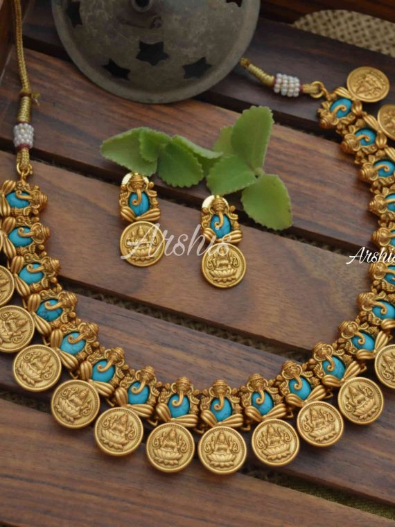 Semi Precious Stone Ganesh Lakshmi Coin Necklace-01
