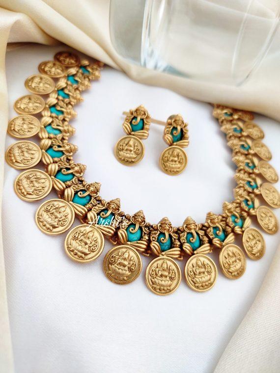 Semi Precious Stone Ganesh Lakshmi Coin Necklace-02