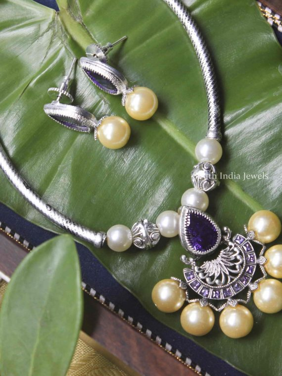 Silver Look Pipeset with Lavander Stone Necklace