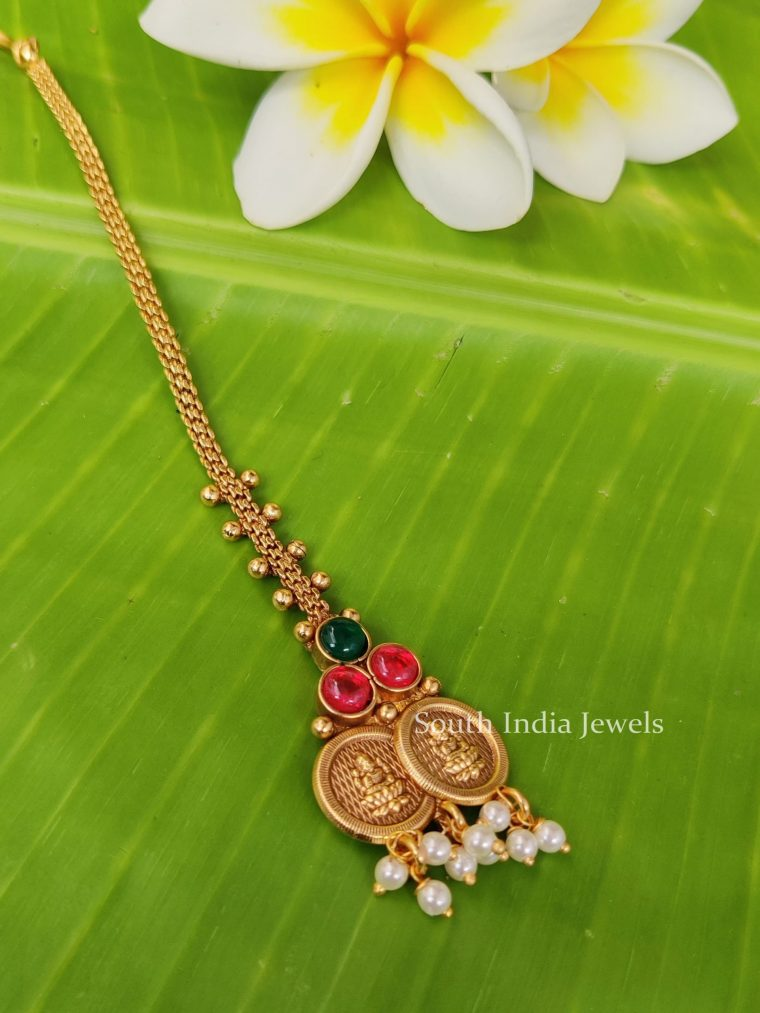 Simple Lakshmi Coin with Pearl Maang Tikka-01